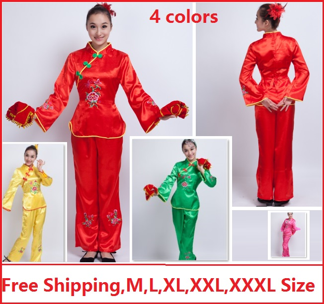 Free shipping lady women ancient traditional cheap chinese dance costumes Peony embroidery chinese folk fan yangko dance costume