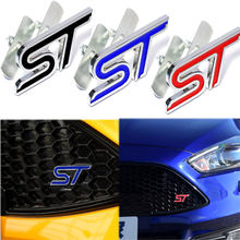 Metal 3D Car Styling ST Front Grille Sticker Car Head Grill Emblem Badge Chrome Sticker for FORD FIESTA FOCUS MONDEO Auto(China)