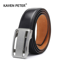 Luxury Italian Top Grain Cow Leather Belt For Men Stainless Steel Automatic Buckle 100 % Genuine Leather Belt Black Gift Box