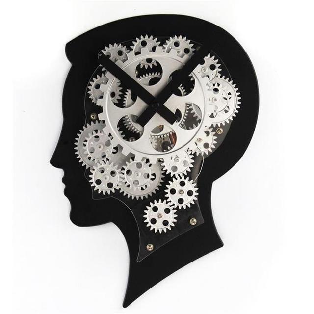 cerveau cr atif horloge murale design moderne metal gear horloge mur salon tude montre mur. Black Bedroom Furniture Sets. Home Design Ideas