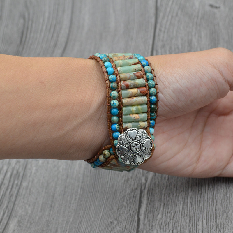 Chakra Bracelet Jewelry Handmade Multi Color Natural Stone Beaded Leather Wrap Couples Bracelets Creative Gifts Dropshipping in Strand Bracelets from Jewelry Accessories