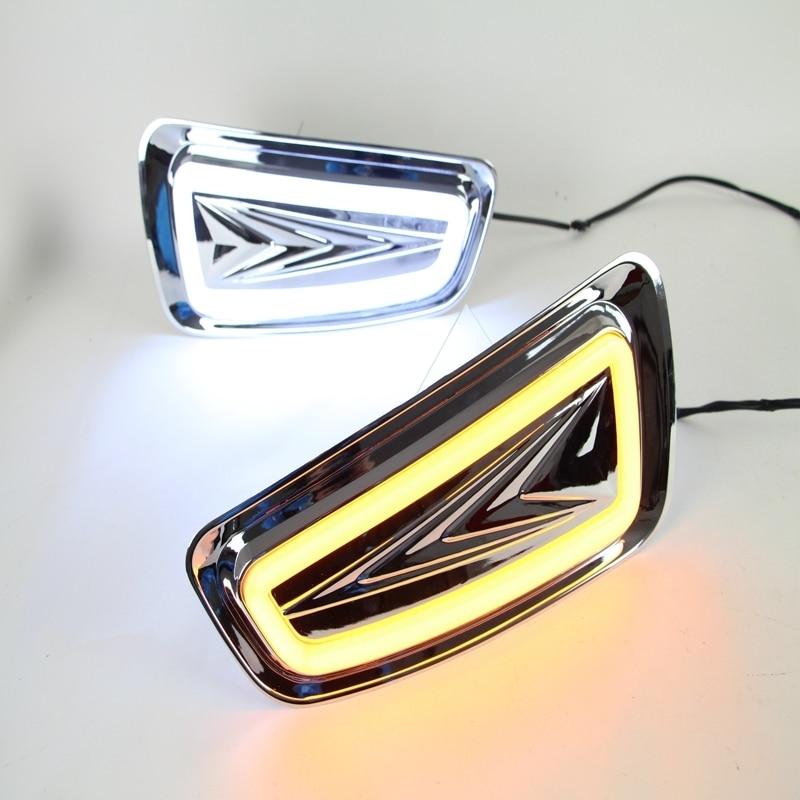 1 Set LED DRL White/Yellow Turn Signals Light Daytime Running Lamps Driving Fog Light for Ford Raptor F150 2009-2014