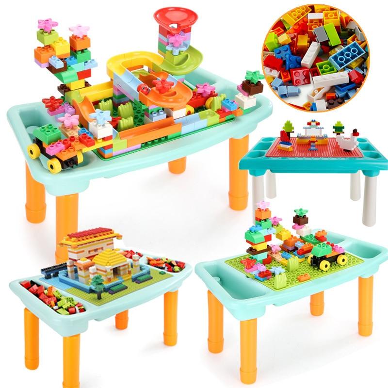 900 pièces marbre course course labyrinthe balles piste blocs de construction multi-fonctionnel bloc de construction jouet Table Compatible Duploed