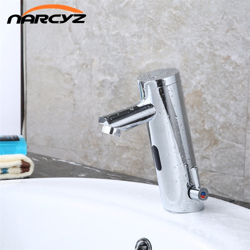 NEW Hot Cold Mixer Automatic Hand Touch Tap Hot Cold Mixer Battery Power Free Sensor Faucet Bathroom Sink XR8805 deck mounted automatic hot cold mixer faucet hand touch tap single handle battery power free sensor faucet bathroom sink taps