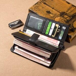 Image 5 - Мужской Длинный кошелек из натуральной кожи BISON DENIM, деловой кошелек на молнии с карманом, роскошный фирменный дизайн, удобный клатч, N8222 1