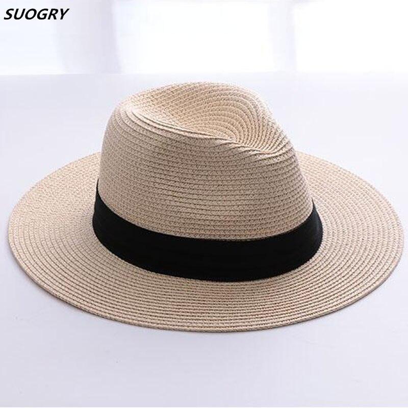 2a79add2f4b3a Gorros de paja de marca SUOGRY para mujer Sombrero de Panamá Beige blanco  para hombre playa Casual de ala ancha verano Hawaiano moda sombrero de sol  ...