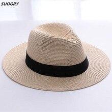 Gorros de paja de marca SUOGRY para mujer Sombrero de Panamá Beige blanco para  hombre playa Casual de ala ancha verano Hawaiano . 65936eb27ba