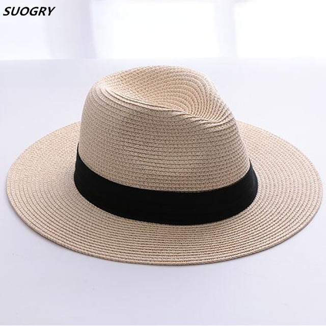 d11f117fb251ea SUOGRY Brand Straw Hats For Women Panama Hat Beige White Mens Beach Casual  Wide Brimmed Summer