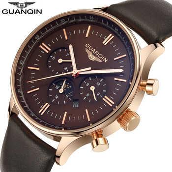Top Brand GuanQin Fashion Mens Watches Quartz Watch men Multifunction Male Wristwatch 100m waterproof Swimming Calendar Luminous