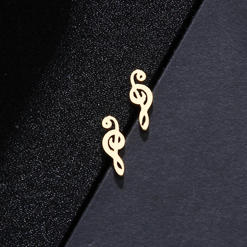 Stainless Steel Music Jewelry Set Necklace Bracelet Earring Treble Clef S545