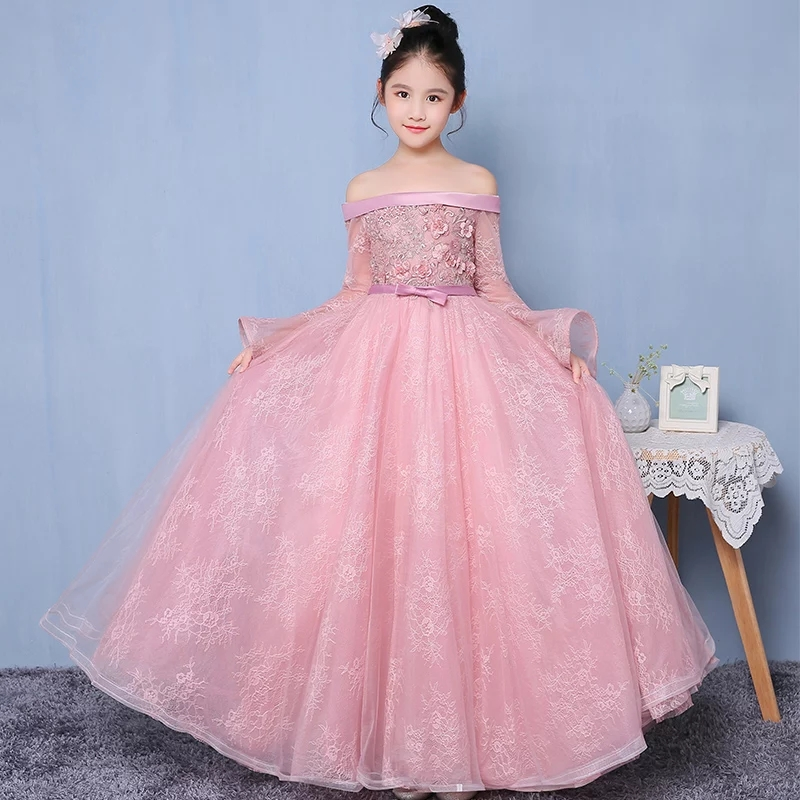 Осень Новые Девушки Дети Мода Shoulderless свадебное платье Тюль платье принцессы для дня рождения Рождество платье Платье для первого причастия