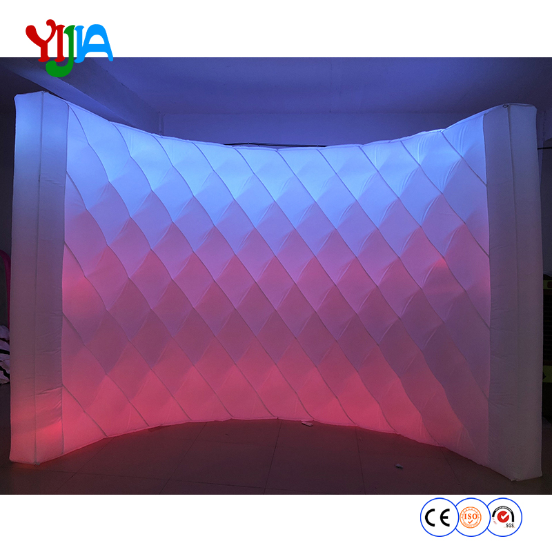 DHL Shipping 10ft L Bright Shining Diamond Shape Inflatable LED Wall PhotoBooth Backdrop Wall With LED