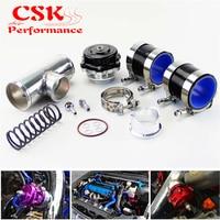 35PSI Boost 50mm Turbocharge Blow Off Valve BOV + 2 Flange Pipe Hose Kit Blue/ Black