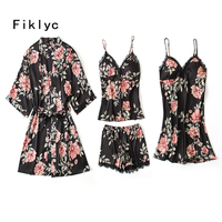 Fiklyc brand four pieces female sexy bathrobe + tops + short pants + nightdress pajamas sets print flower fresh nightwear women