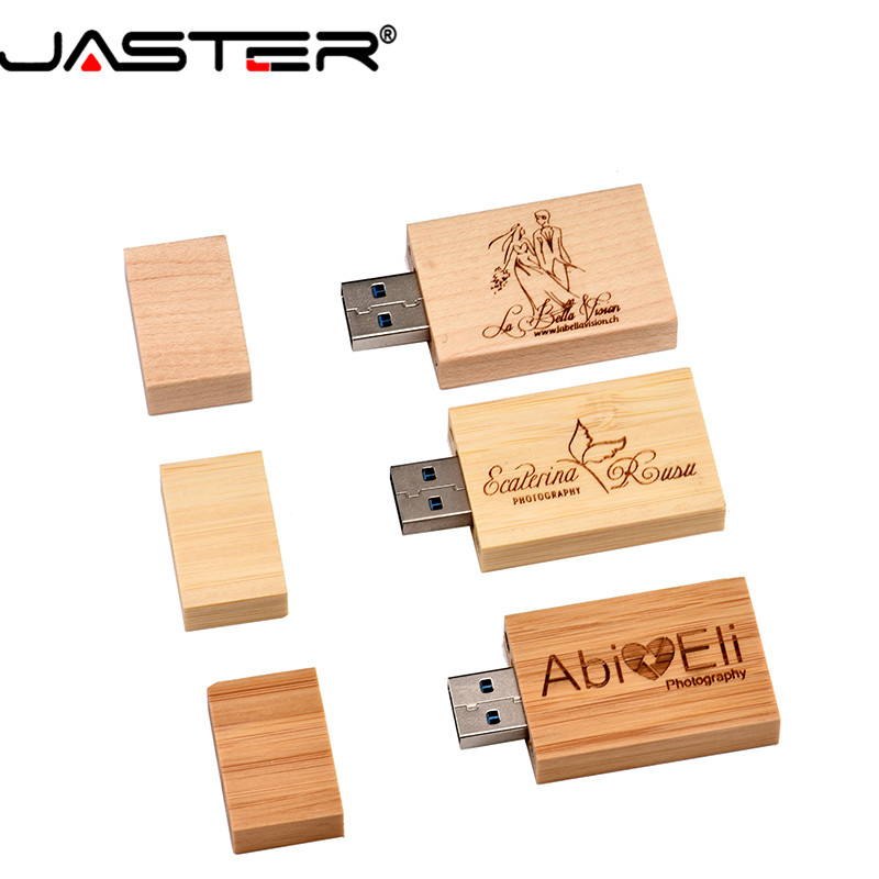 JASTER Promotion 5 Colors (free Custom Logo) Creative Wooden Usb Thumb Drive 4GB/8GB/16GB/32GB/64GB USB 2.0 External Storage
