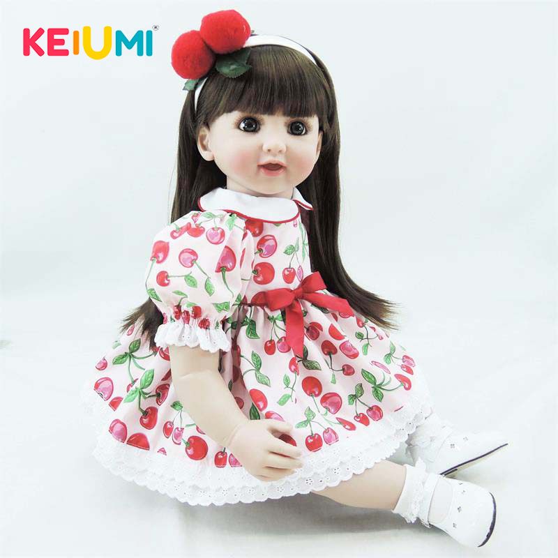 Collectible 22 Inch 56 cm Reborn Toy Soft Silicone Vinyl Newborn Doll For Girl Lovely Reborn Baby Doll Cloth Body Kids Gifts