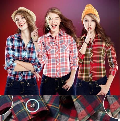 Alta Calidad Grip Plaid Blusas Camisas Para Mujeres de Las Señoras de Manga Larg