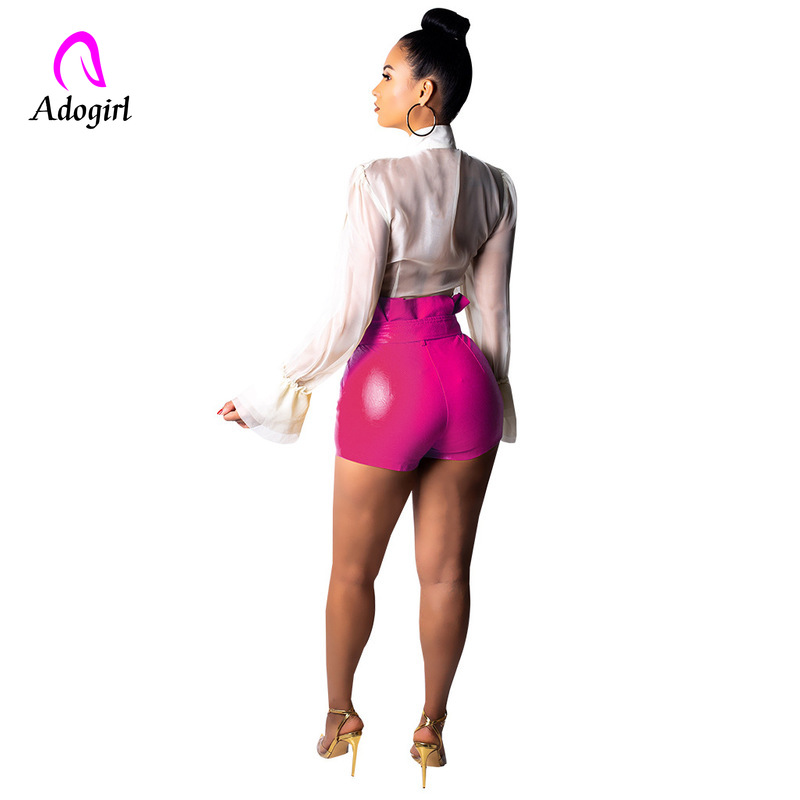Pink High Waist PU Leather Shorts Women Cool Punk Sashes Skinny Shorts Highly Stretchy Casual Elastic Waist Leather Shorts 2019 in Shorts from Women 39 s Clothing
