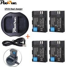 4 unids LP-E6 LP E6 lpe6 batería de la Cámara + cargador Dual del USB para Canon EOS 5DS 5D Mark II marca III 6D 7D 60D 60Da 70D 80D DSLR 5DSR