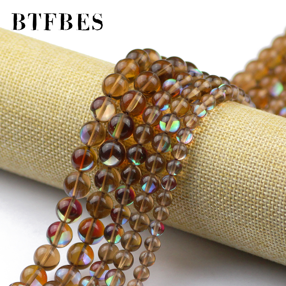 BTFBES AAA Brown Synthetic Flash Stone Natural Labradorite Stone Beads 6 8 10mm Round Loose Bead for Jewelry Bracelet Making DIY in Beads from Jewelry Accessories