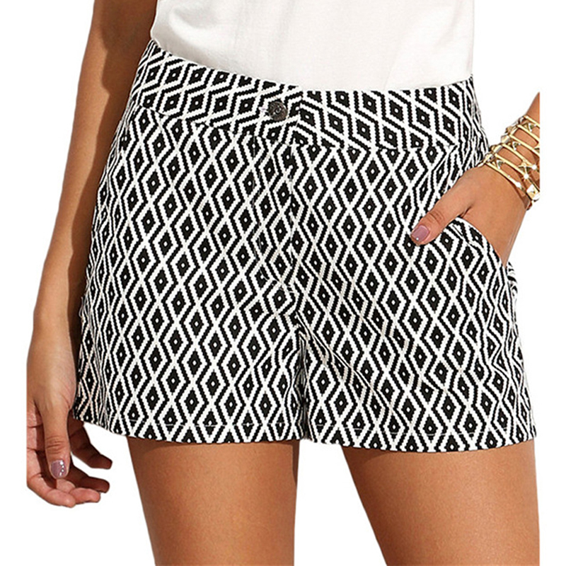 Black And White Houndstooth Women Shorts Summer Fashion Mid Waist Casual Pocket Straight Shorts Plaid Striped Shorts
