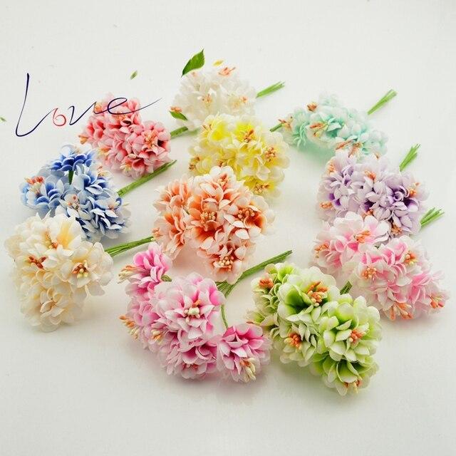 6pcs silk handmade stamens artificial bouquet wedding decorations