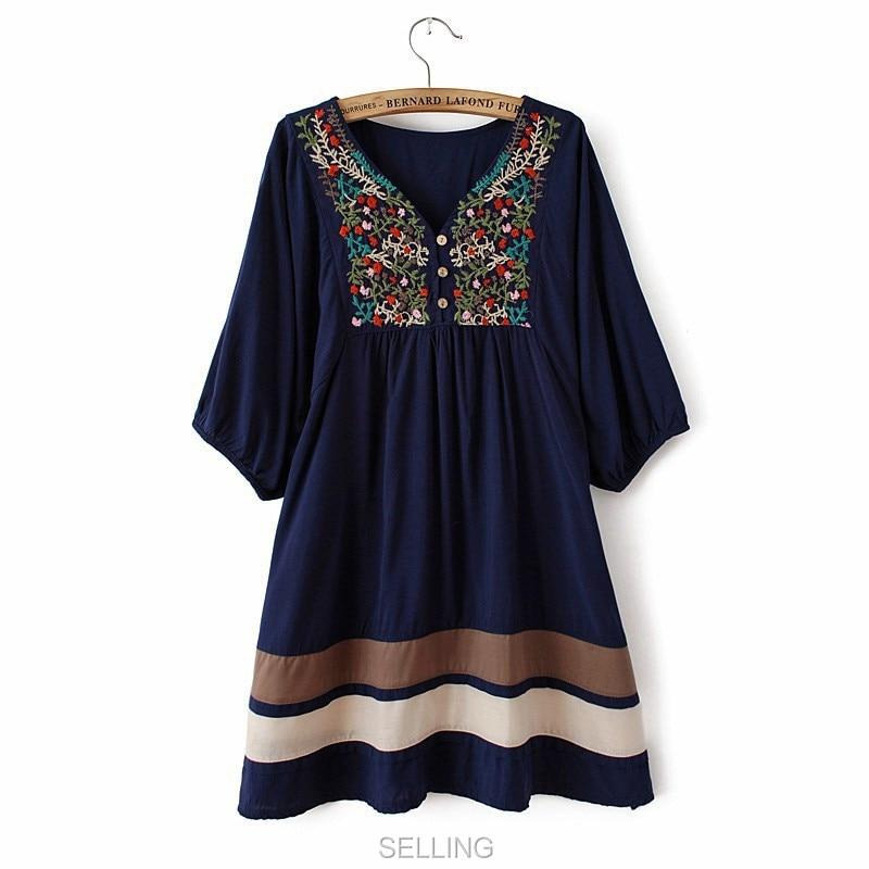 Винтаж 70s деревенском стиле вышитые Мексиканская Платье в богемном стиле с длинным Vestidos Женская хлопковая блуза 11 видов цветов L размера плюс футболки; - Цвет: Синий