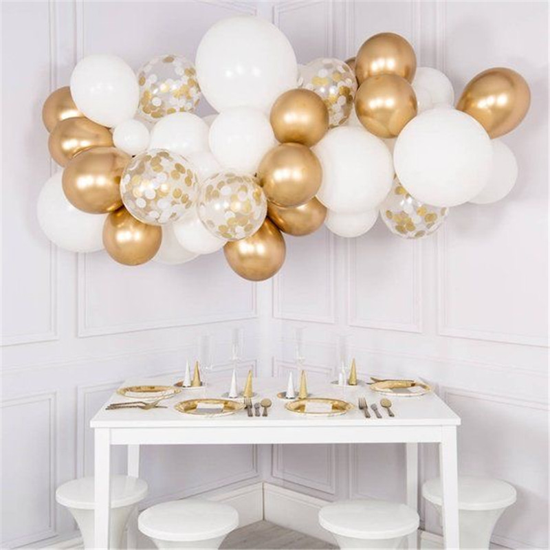 11pcs Mixed White Chrome Gold Confetti Balloons Birthday Party Decoration  Kids Adult Air Ball Graduation Party Globos Balloons