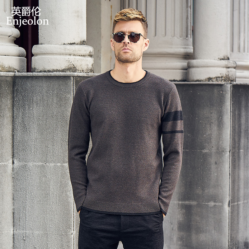 Enjeolon brand winter new knitted pullover Sweaters man o neck sweater men 3 color Sploced sweater 3XL clothes MY3309