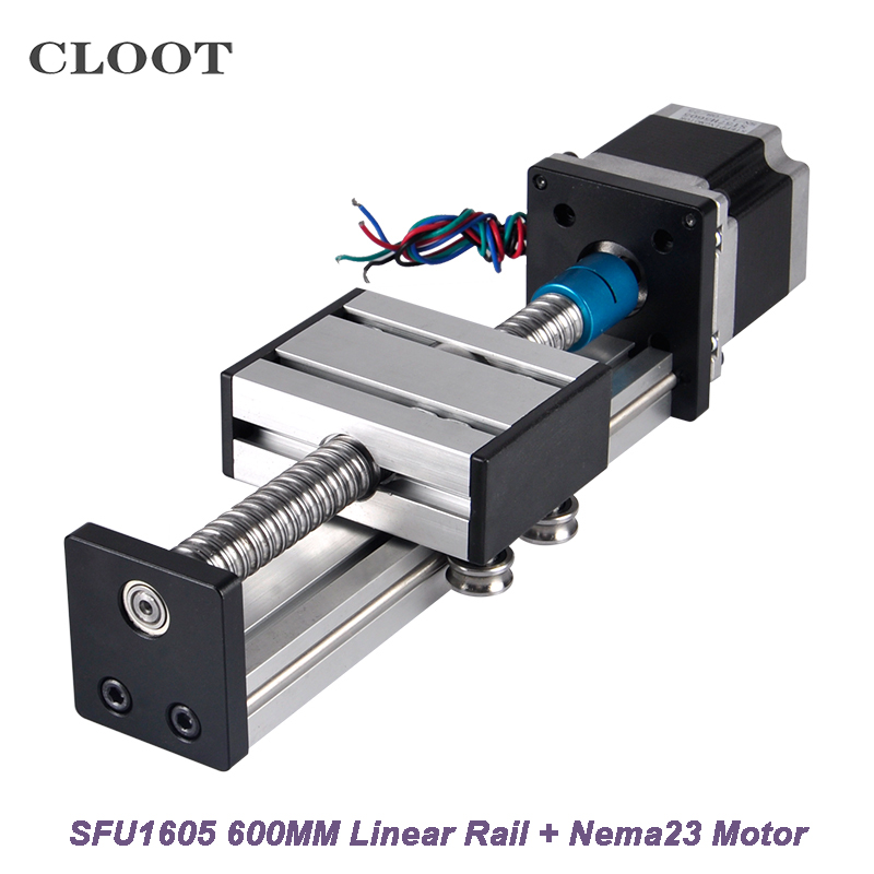 CNC Router Linear Guide Rail 600mm Linear Mould Effective Stroke SFU1605 +Nema23 Stepper Motor For CNC Work Table cnc router linear guide rail linear guide rail 200mm module effective stroke sfu1605 23nema stepper motor for xyz cnc table