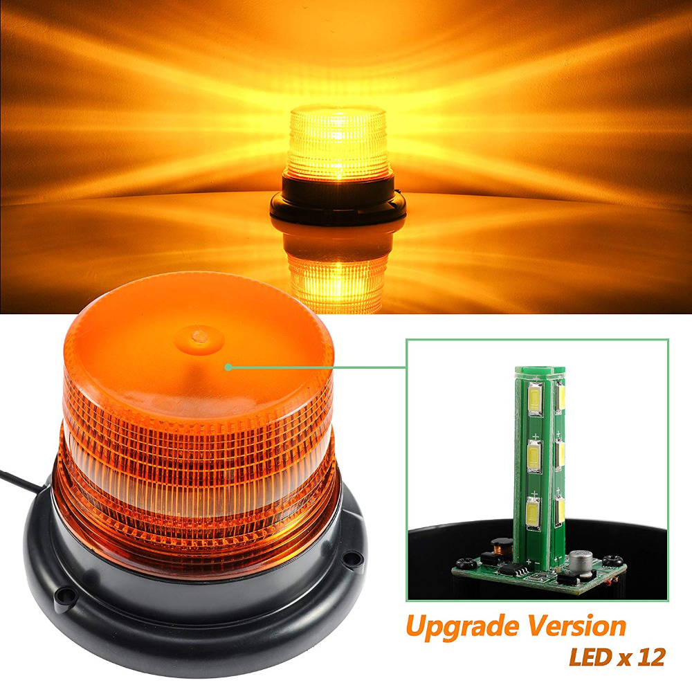 12V/24V LED Yellow color Car Truck Strobe Warning Light Police LED Flashing Emergency lights Beacon Lamp with Magnetic Mounted