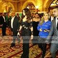V-образным вырезом с длинными рукавами русалка платья знаменитостей новое поступление черное кружево аппликация сексуальное отвесное вечерние платья вечера vestidos лонго