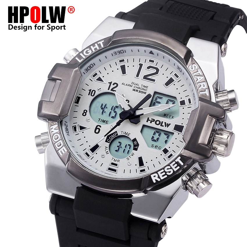 Men Male Military Sports Watches Mens Waterproof Casual Alarm Clock Men Relogio New Fashion Top Brand HPOLW Analog Digital Watch hpolw тяжелый серебряный
