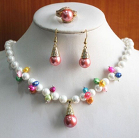 Miss Charm Jew 503 Fashion Women S 8mm Mixed Color Pearl Crystal Necklace Earring Ring Jewelry