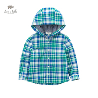 DK0665 dave bella spring boys new plaid cotton casual hoodies