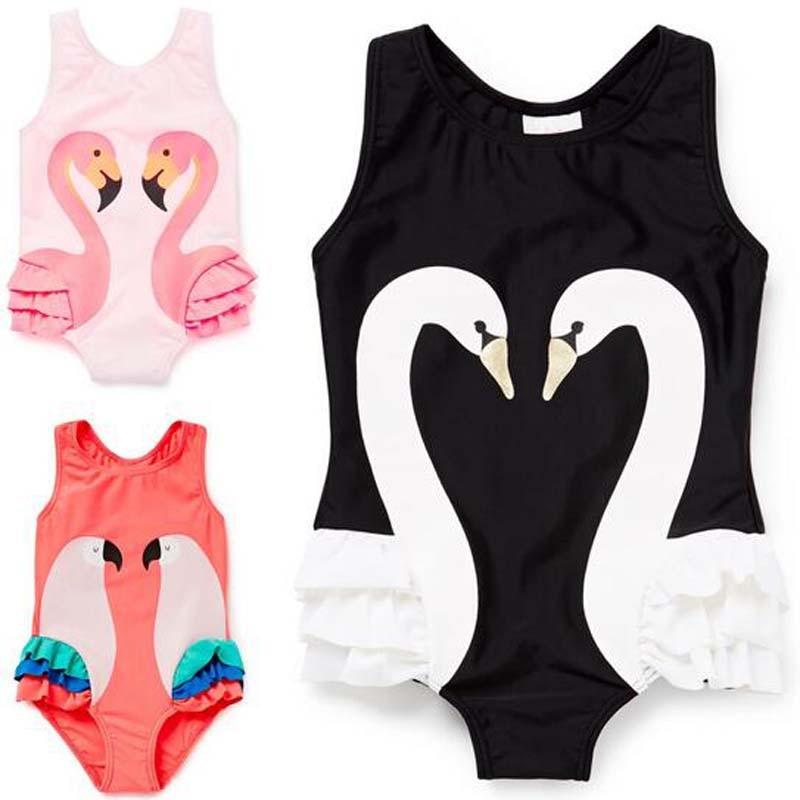 2017 summer Swimsuit Girls fashion black/Pink swan flamingo parrot pattern Girls Swimwear Sports Bodysuit Beachwear kids pink swan 100
