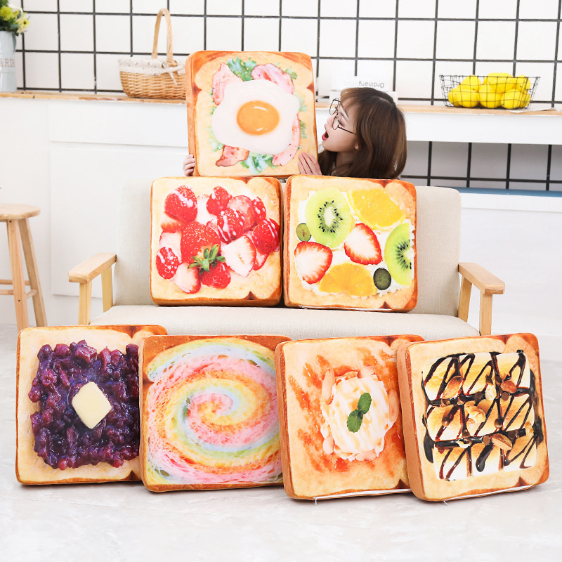 Simulated Food Pillow Fruit Toast Cushion  Plush Toy Stuffed Pillow Realistic Food Funny Gift For Kids Room Decoration