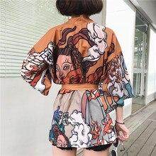 Japanese Harajuku Vintage Female Man Kimono Cardigan Ulzzang Kawaii Graphic Oversized Tops Shirts Street Fashion Bandage Blouse