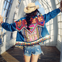Free Shipping Fashion Suede Beaded Embroidery Coat For Women National Outerwear Long Sleeve Single breasted High Quality Jackets