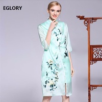 XXL Coat Spring Summer Outerwear Plus Size Jacket Women Organza Silk Floral Embroidery Blue Pink Long Coats Jackets Loose Wide