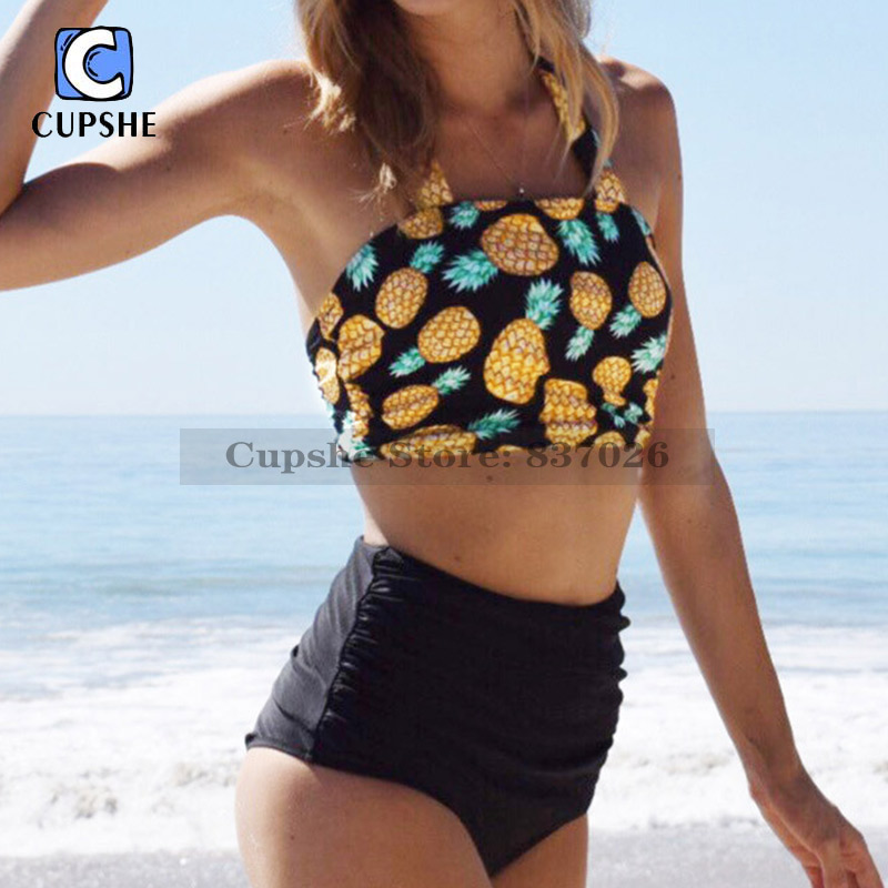 CUPSHE After Forever Pineapple High-waisted Bikini Set Kvinnor Sommar Sexy Baddräkt Ladies Beach Baddräkt Badkläder