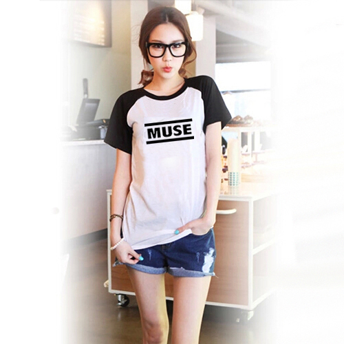 Muse impresso mulheres manga Raglan preto t-shirt roupas camiseta legal japonês Harajuku Mori ganhos Tee