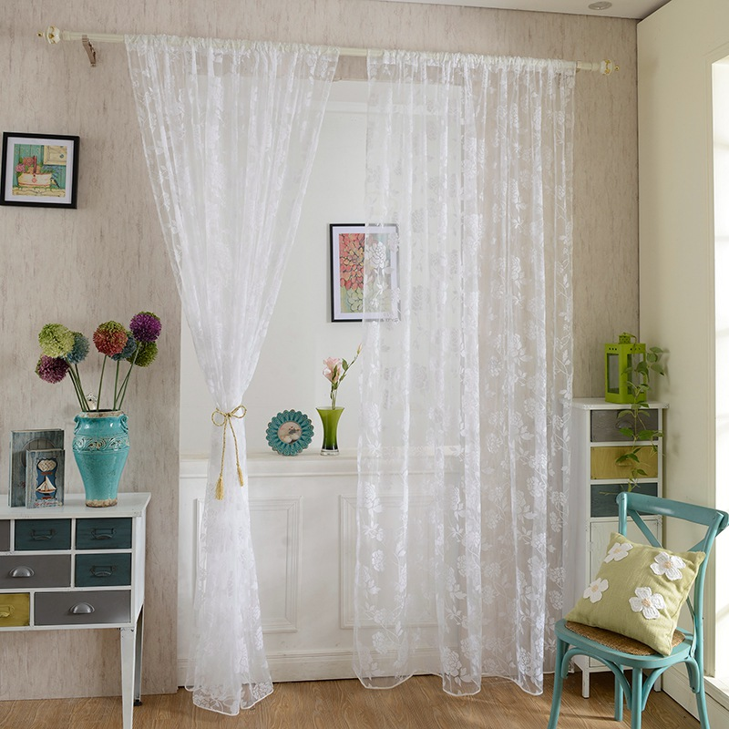 New Design 1*2M Peony Flower Window Voile Curtain Romantic Floral Tulle Drape Panel Room Home Sheer Valance