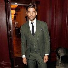 Slim Green Men Suits for Wedding Business Man Blazers Groom Wear Tuxedos 3Piece(Jacket+Pants+Vest)Men Jacket Costume Homme