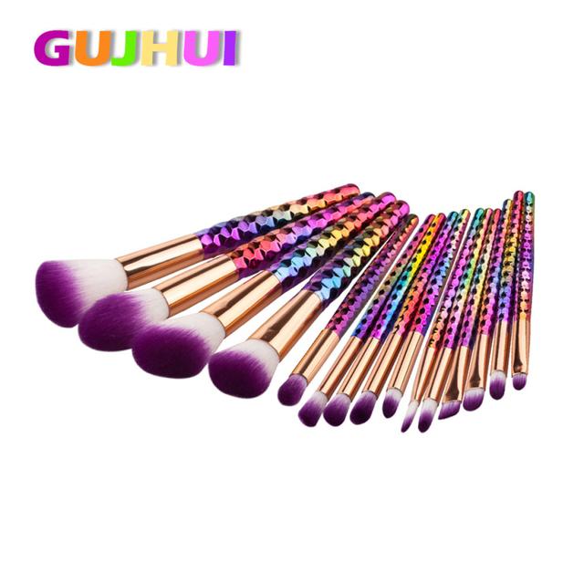 Best Deal Novo 15 PCS Roxo Fibra Make Up Foundation Sobrancelha Delineador Blush Cosméticos Concealer Brushes