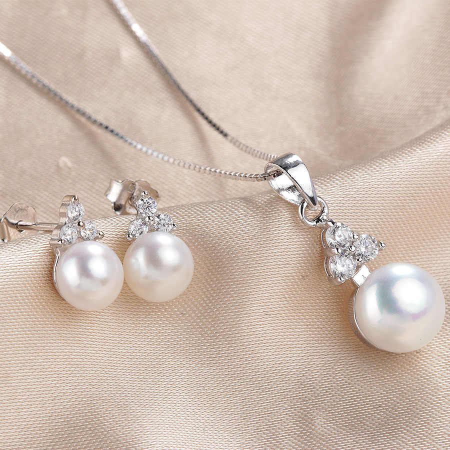 Fashion 5A Natural Pearl Jewelry Sets For Women Fine 925 Sterling Silver Earrings Sets Elegant Wedding Freshwater Pearl Jewelry