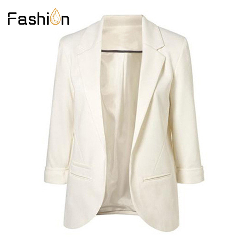 11 Colors 2019 Spring Slim Fit Women Blazers Formal Jackets Office Lady Work Open Front Notched OL Ladies Blazer Coat Plus Size