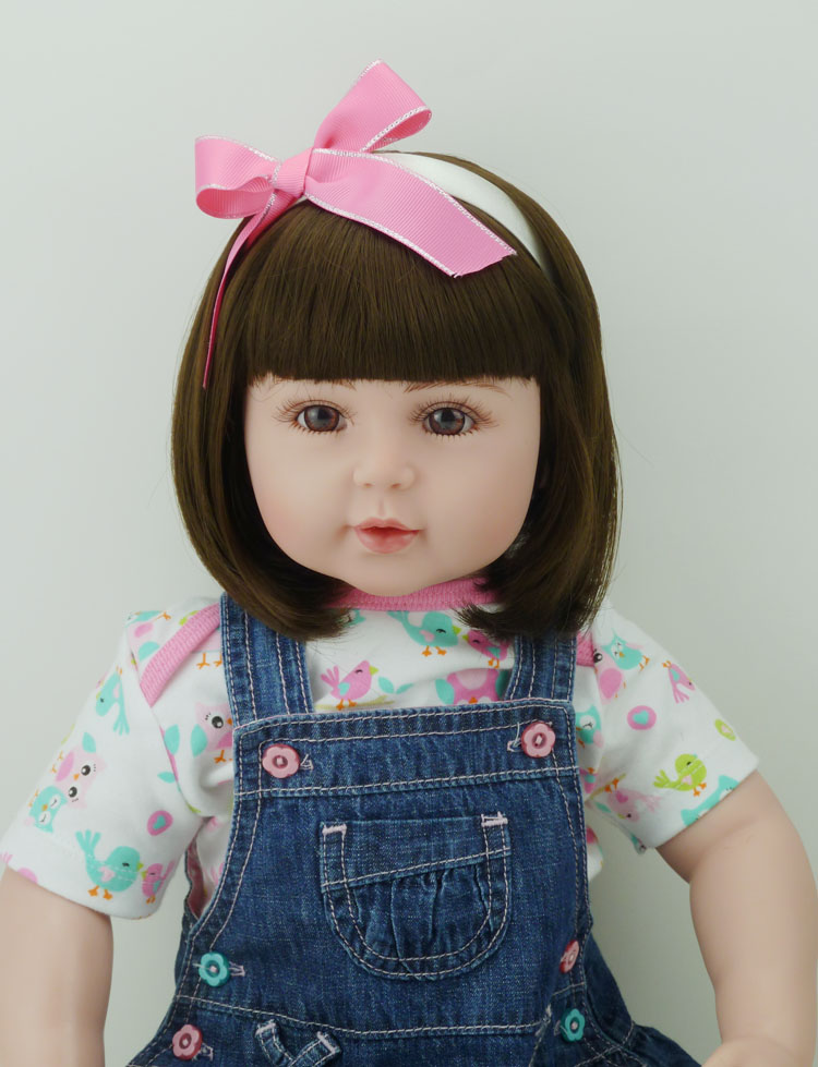 22 Inch Baby Girl Doll Toy Birthday Gift Soft Vinyl Toddler Reborn Baby Doll In Denim Dress with Bow Headband Christmas Gifts lovely giant panda about 70cm plush toy t shirt dress panda doll soft throw pillow christmas birthday gift x023