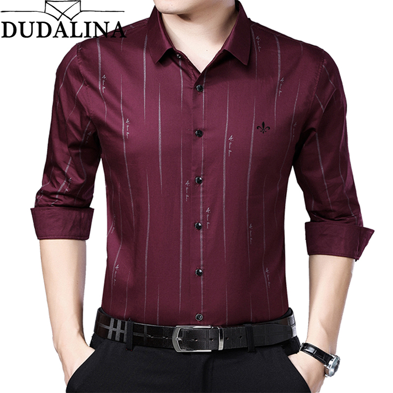 Dudalina Me Shirt 2019 Men's Striped Dress Shirts Male High Quality Long Sleeve Slim Fit Business Casual Shirt Camisa-in Casual Shirts from Men's Clothing