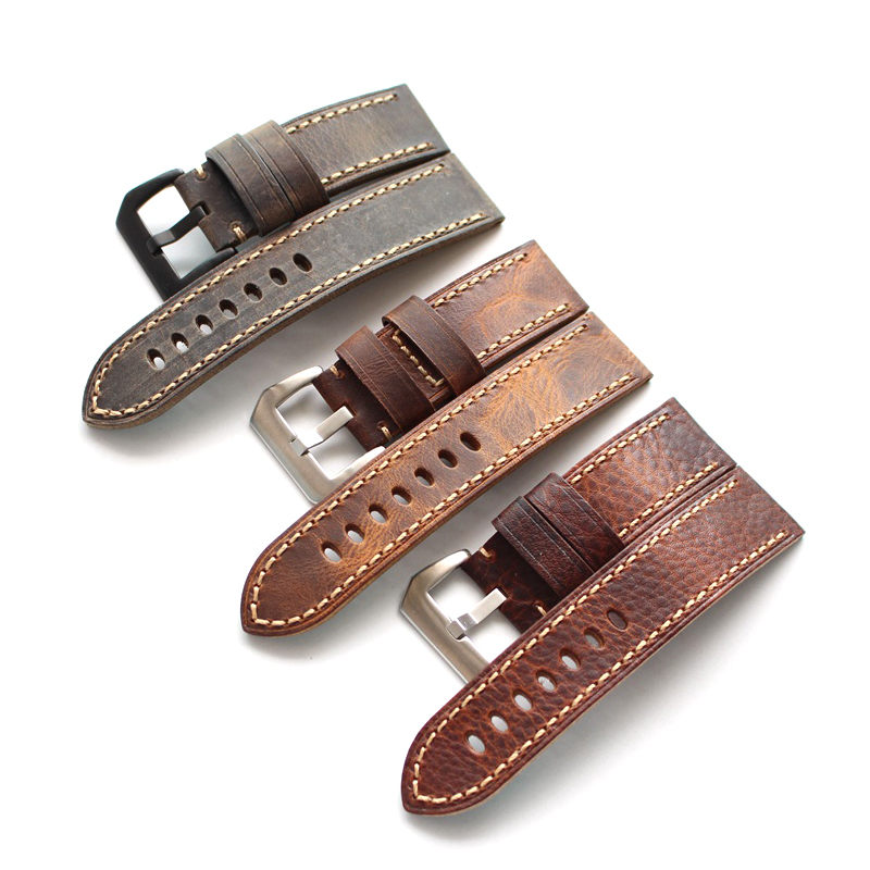 20mm 22mm 24mm 26MM Handmade high quality Straps Vintage Leather Strap <font><b>Bracelet</b></font>, Retro watchband For <font><b>Pam</b></font> And Big Watch branded image